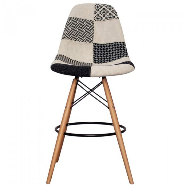 DSB Bar Stool in Natural Legs and Cushioned Fabric Seat
