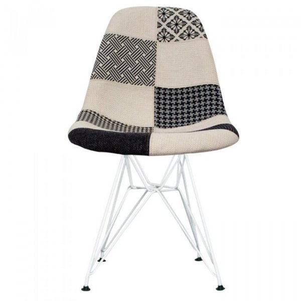 DSR Side Chair in White Legs and Fabric
