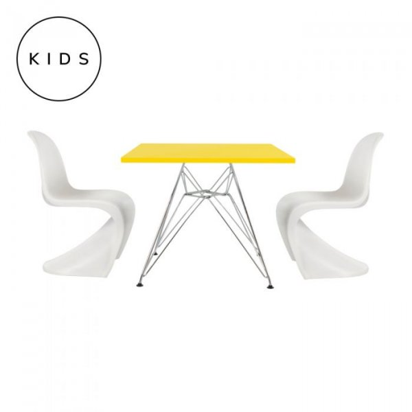 Private: Childrens 2 Panton Style Chairs in White with DSR Style Table
