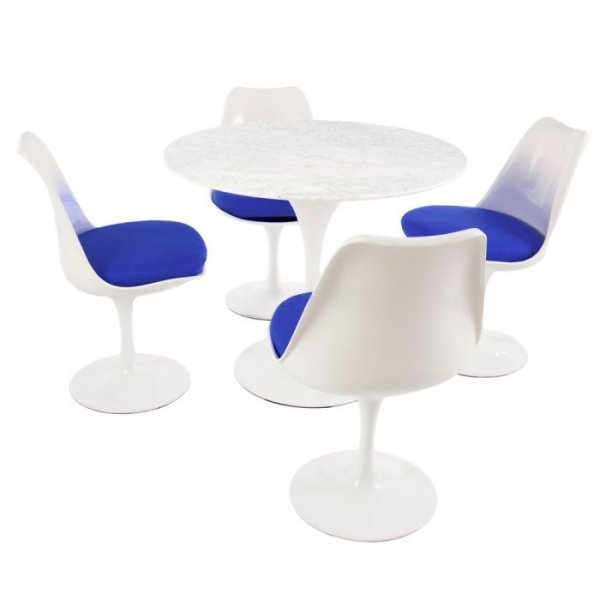 Tulip Style Set-Marble Table Top 4 Chairs