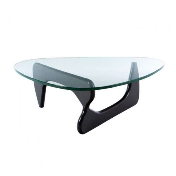 Coffee Table in Glass Top Beech Wooden Base