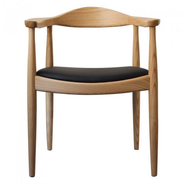 Hans J Wegner Style The Chair in Black Leather Cushion