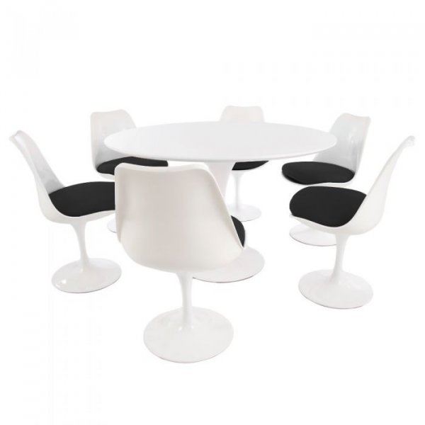 Tulip Style Set-White Table Top 6 Chairs