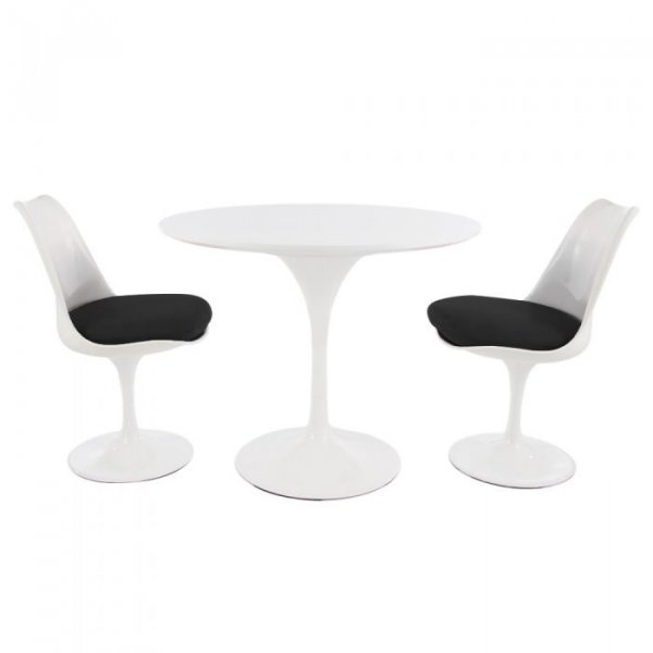 Tulip Style Set-White Table Top 2 Chairs