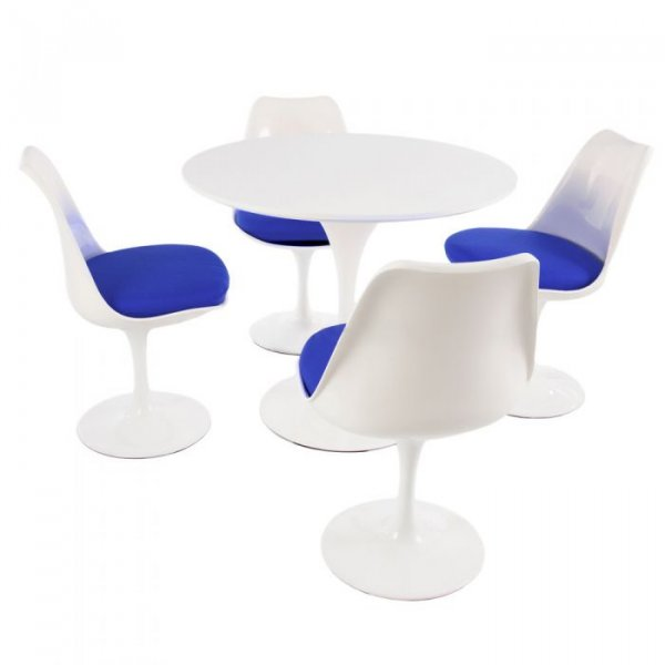 Tulip Style Set-White Table Top 4 Chairs