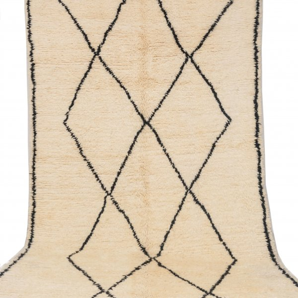 Cream and Black Beni Ourain Rug- Aicha