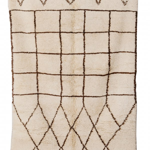 Cream and Black Beni Ourain Rug- Fatima