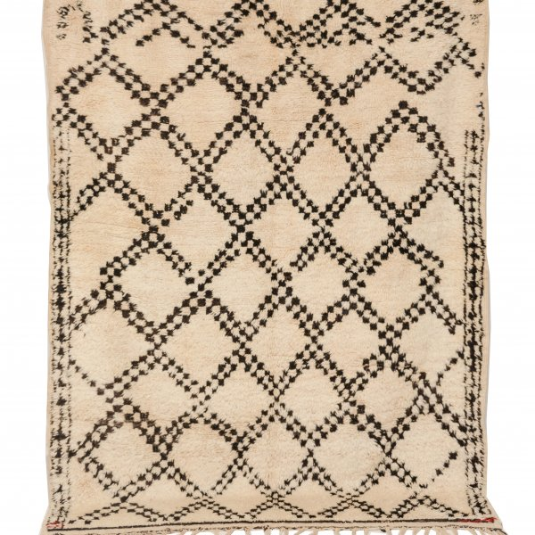 Cream and Black Beni Ourain Vintage Rug- Buchra