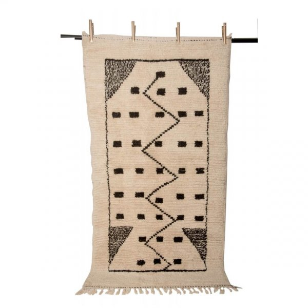Cream and Black Beni Ourain Rug- Meryem