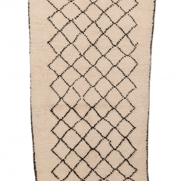 Cream and Black Beni Ourain Rug- Nadia