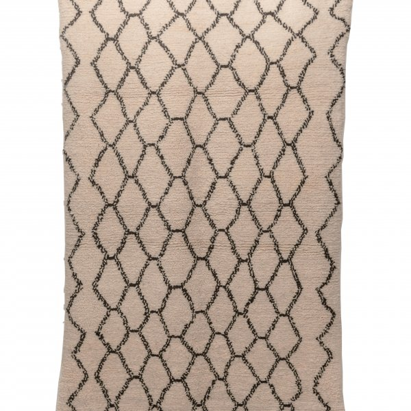 Cream and Black Beni Ourain Rug- Nahla