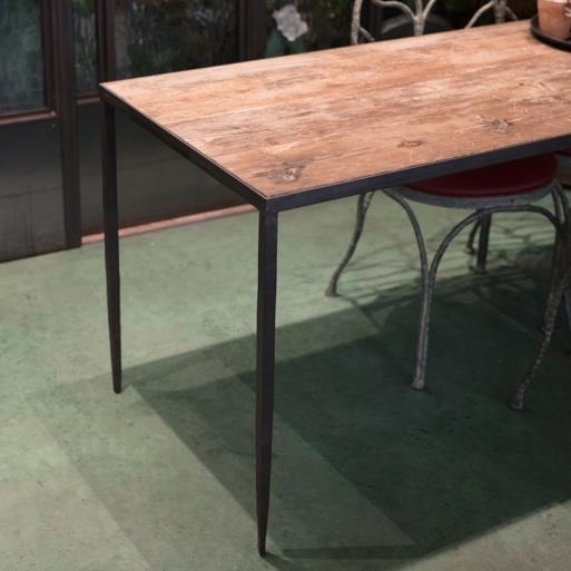 Rectangular Wooden Table With Iron Legs