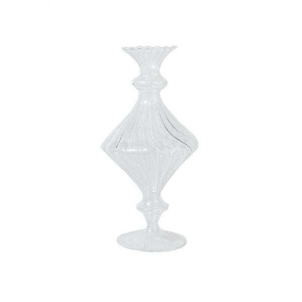 Ribbed Glass Fluted Vase With Foot