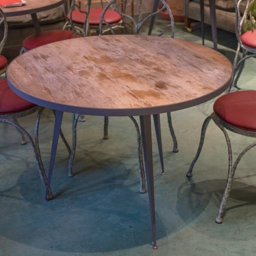 Round Wooden Table With Iron Legs