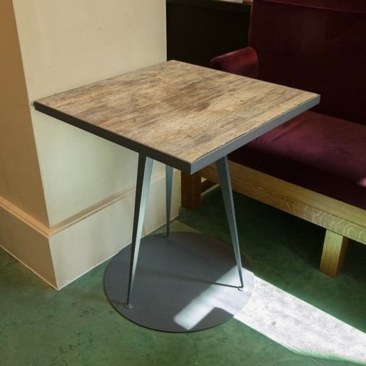 Square Wooden Table with Round Iron Base