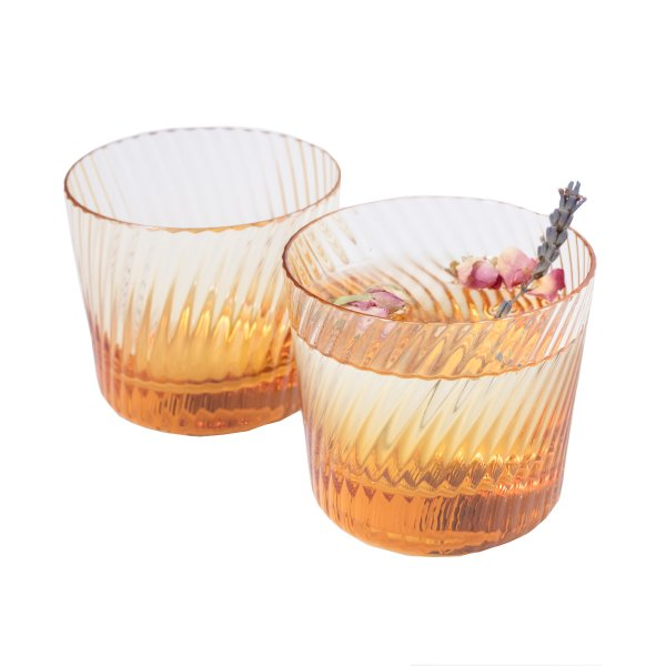 Amber Spiral Water Tumblers, Set of 2