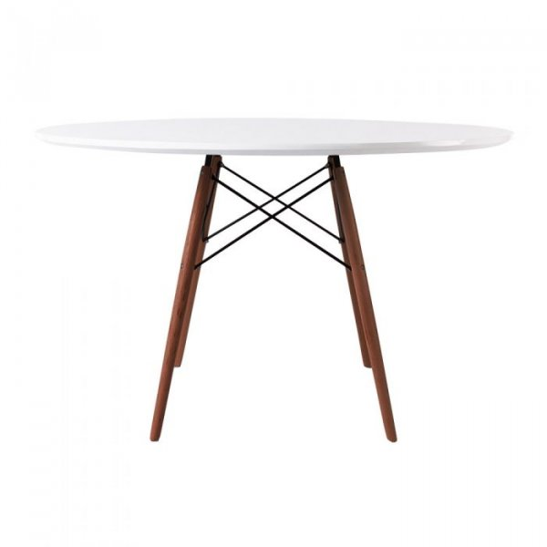 Round Dining Table in White Top
