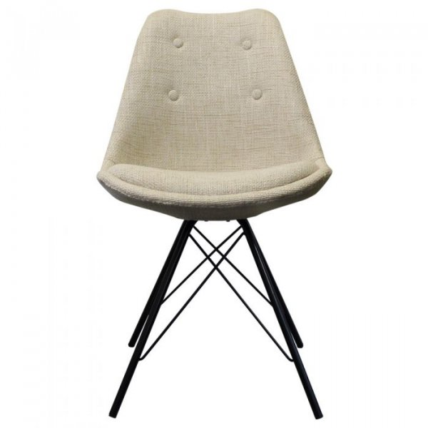 I-DSR Side Chair in Fabric and Black Metal Legs