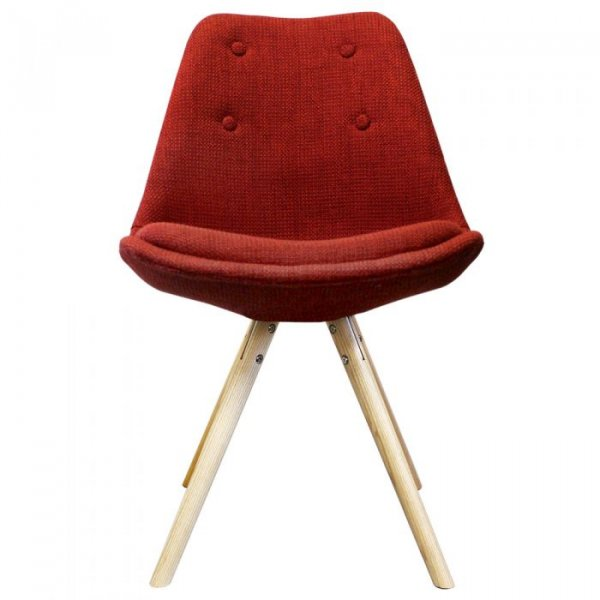 I-DSW Side Chair in Fabric and Natural Pyramid Legs