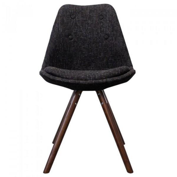 I-DSW Side Chair in Fabric and Walnut Stained Pyramid Legs