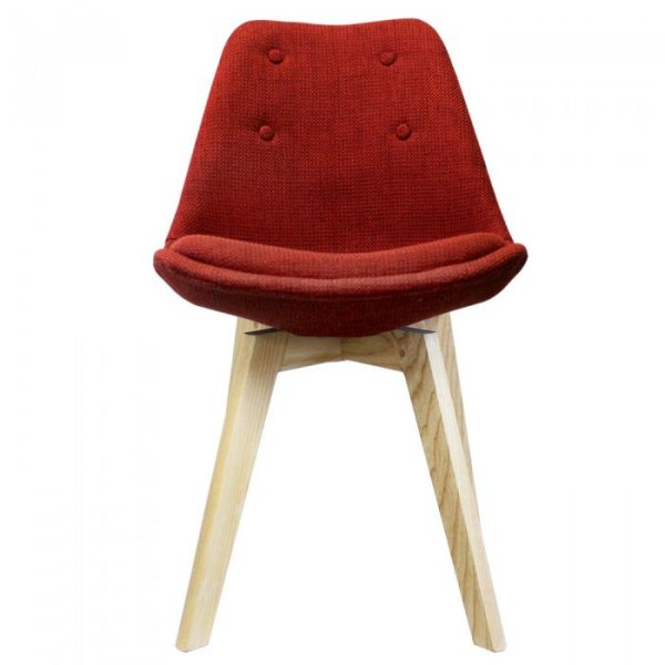 I-DSW Side Chair in Fabric and Natural Squared Legs