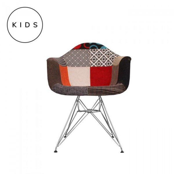 Kids DAR Arm Chair in Patchwork Fabric and Chrome Legs