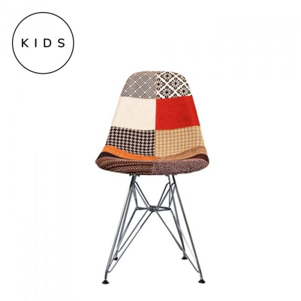 Kids DSR Side Chair in Patchwork Fabric and Chrome Legs