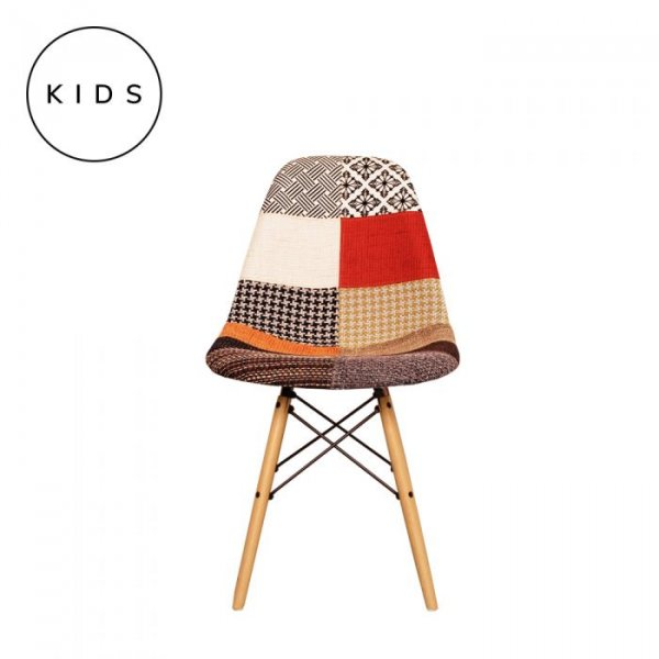 Kids DSW Side Chair in Patchwork Fabric and Natural Legs
