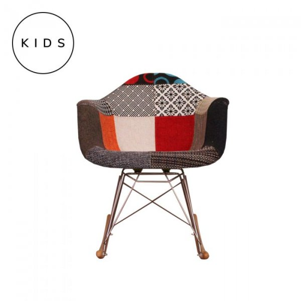 Kids RAR Rocking Chair in Patchwork Fabric and Natural Legs