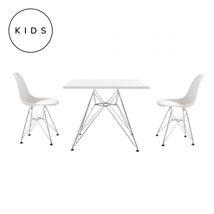 Admirable Shop Childrens 2 Dsr Style Chairs In White With Dsr Style Table Online Maison Flaneur Machost Co Dining Chair Design Ideas Machostcouk