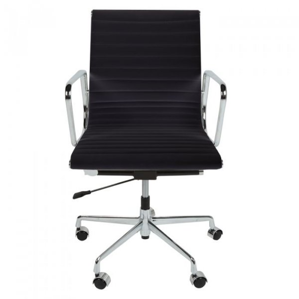Eames Style EA117 Office Chair in Low Back Ribbed Leather