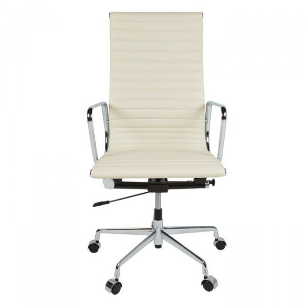 Eames Style EA119 Office Chair in High Back Ribbed Leather