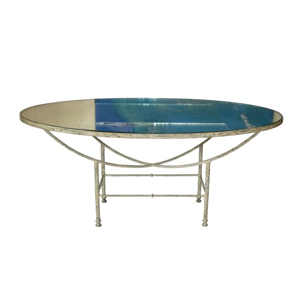 Oval Mirrored Glass Table