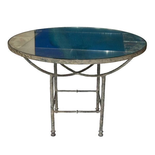 Round Mirrored Glass Table