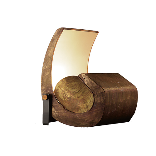 Aged Brass Sculptural Floor Lamp – Escargot by Le Corbusier