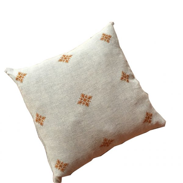 Grey Wash with Burnt Orange Embroidery Gypsy Pillow in Linen