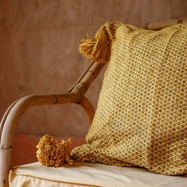 Mustard with White Weaving Pillow in Cotton