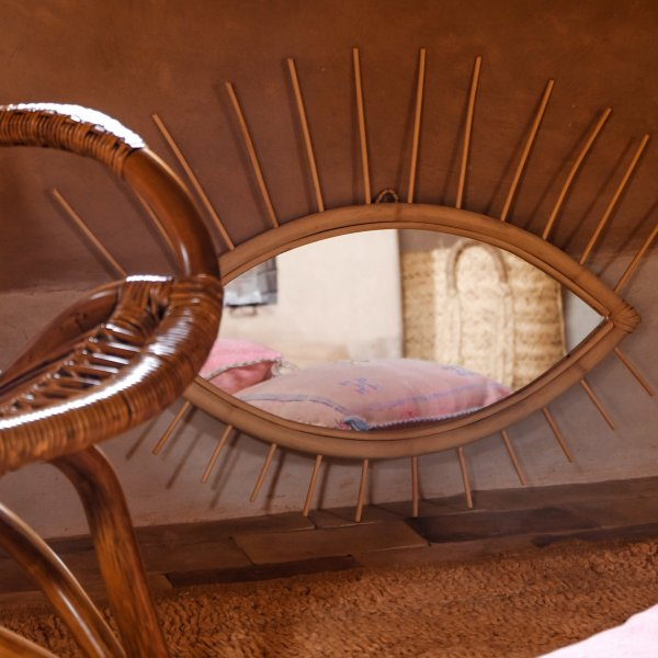 Private: Rattan Wall Eye Mirror 02 in Natural