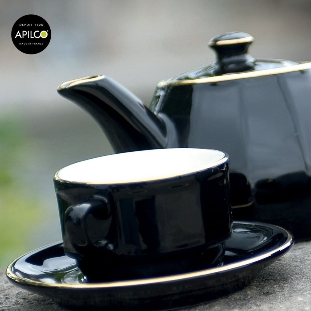 Black Lunch Cup and Saucer, set of 6