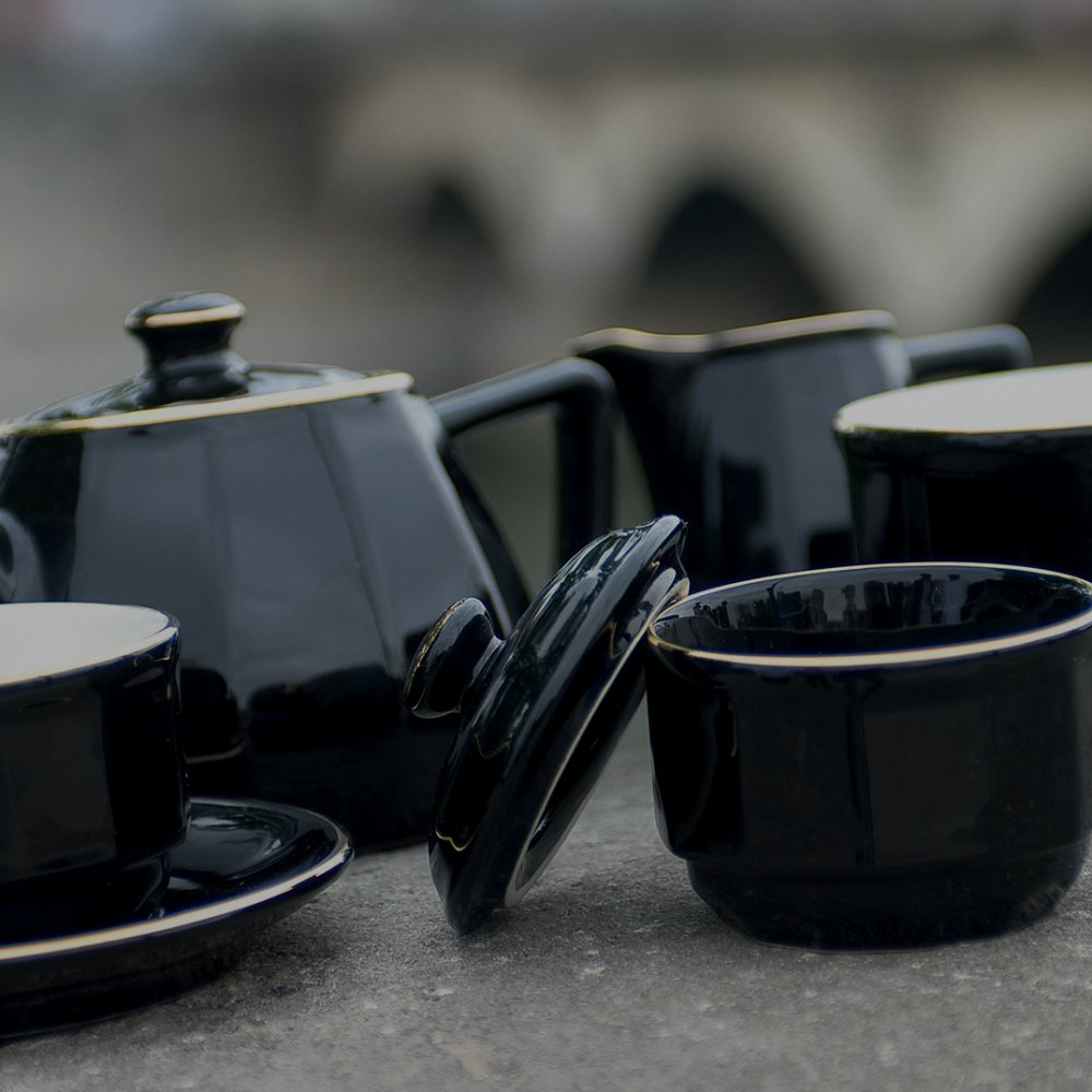 Black with Gold Band Tea Cup and Saucer, Set of 6