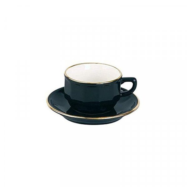 Black Mocha Cup and Saucer, Set of 6