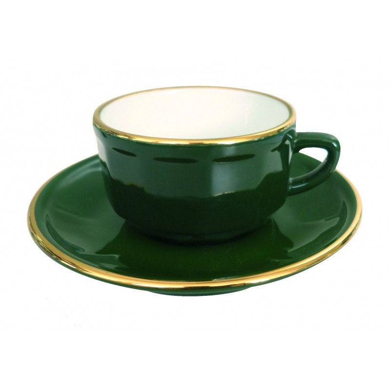 Green with Gold Band Chocolate Cup and Saucer, set of 6