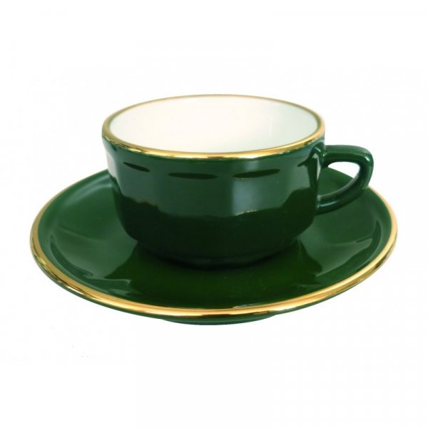 Green with Gold Band Lunch Cup and Saucer, set of 6