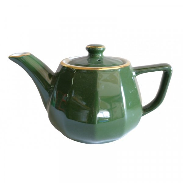 Green with Gold Band Teapot