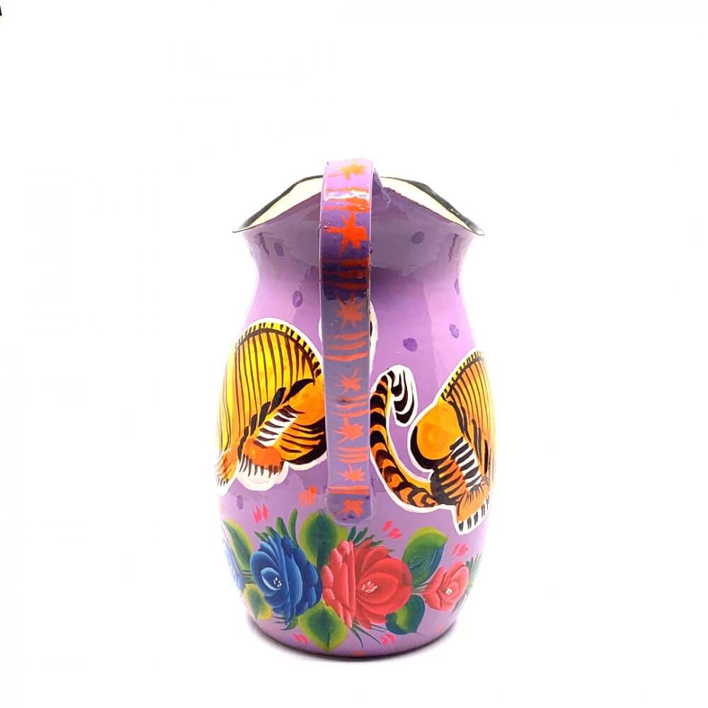 Hand Painted Enamul Jug, Purple Tiger
