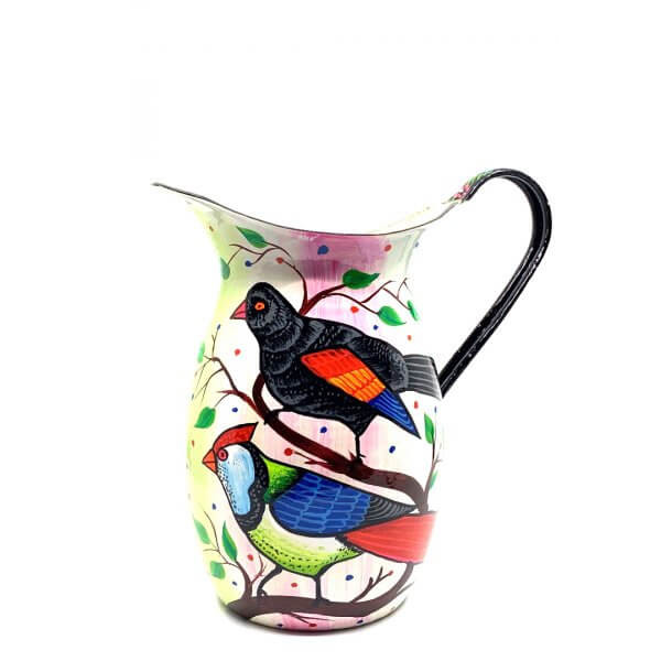 Hand Painted Enamul Jug, White Bird