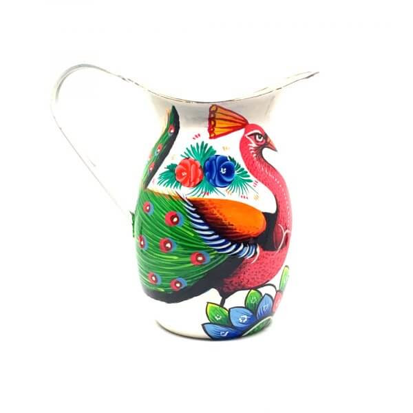 Hand Painted Enamul Jug, White Peacock