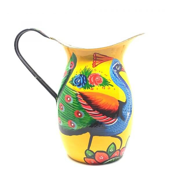 Hand Painted Enamul Jug, Yellow Peacock