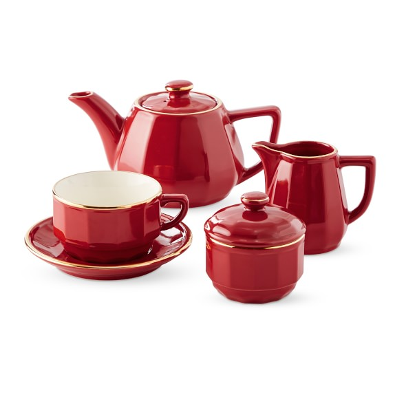 Red with Gold Band Chocolate Cup and Saucer, set of 6