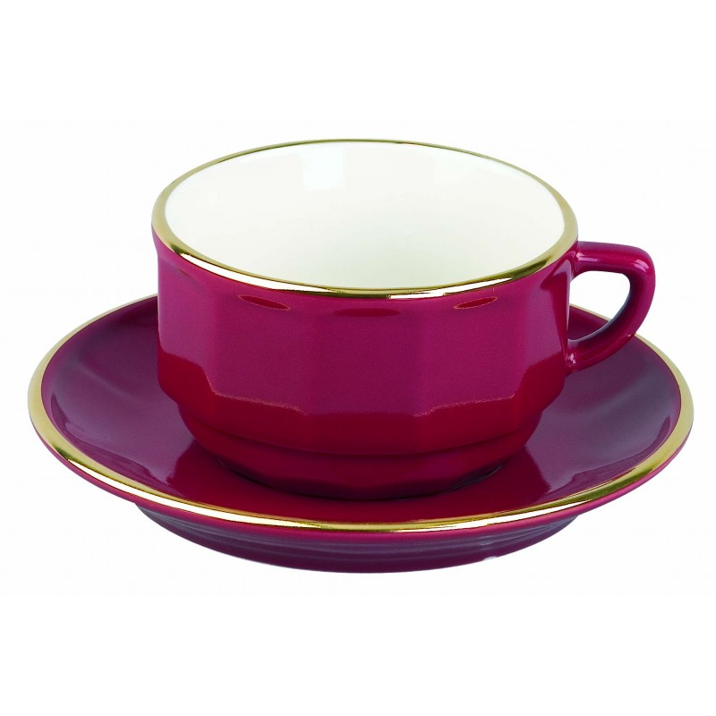 Red with Gold Band Lunch Cup and Saucer, set of 6